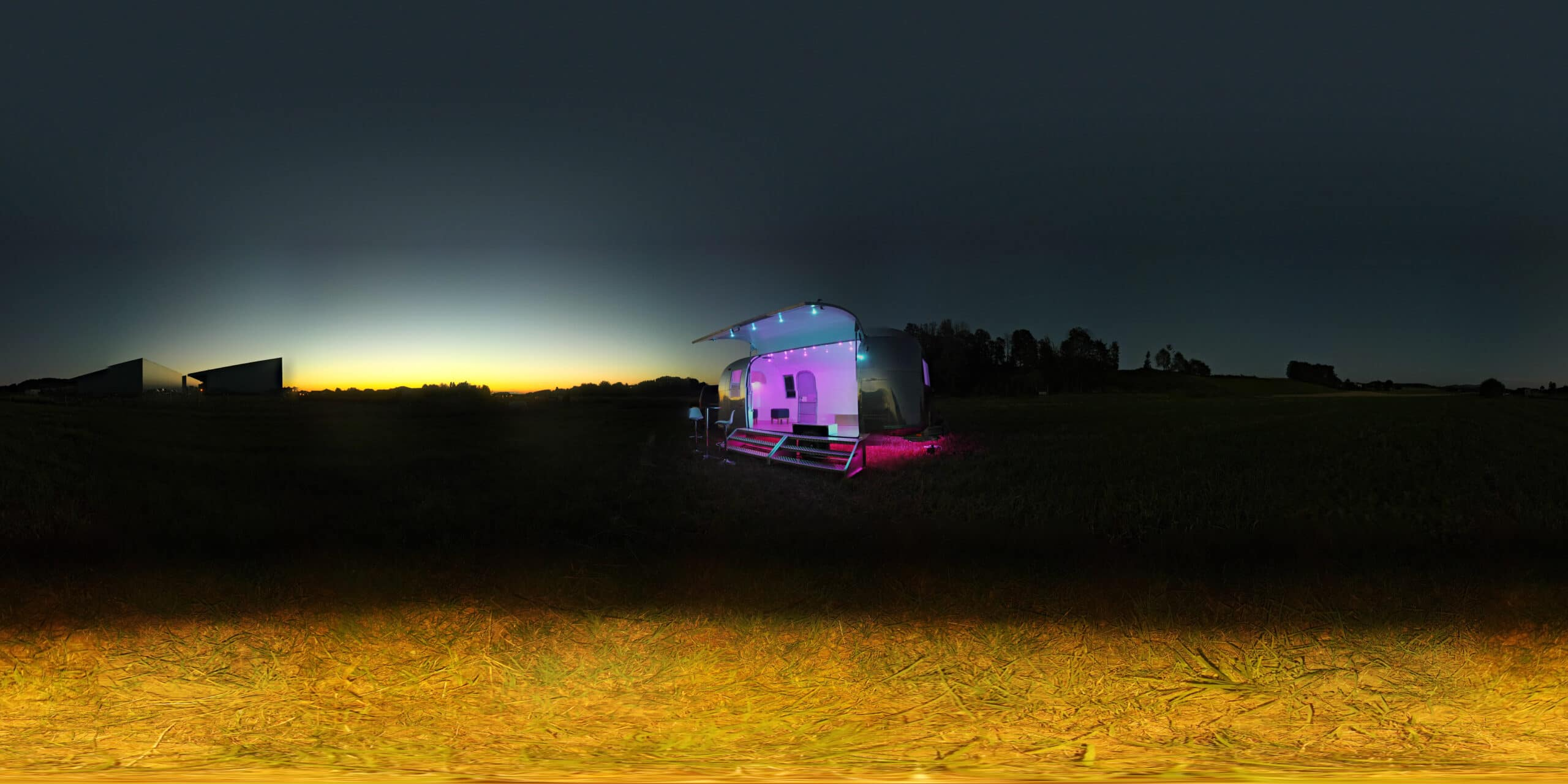 Airstream Safari Mobile Stage After Sunset 5-1